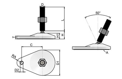Levelling Feet - 316 Stainless Steel - Extended Bolt Down Base (White) (WDS 778)