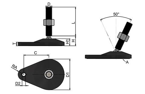 Levelling Feet - Extended Bolt Down Base - Steel Nickel Plated  (WDS 778)