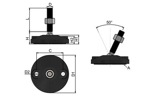 Levelling Feet - Double Bolt Down Base - Steel Nickel Plated (WDS 778)