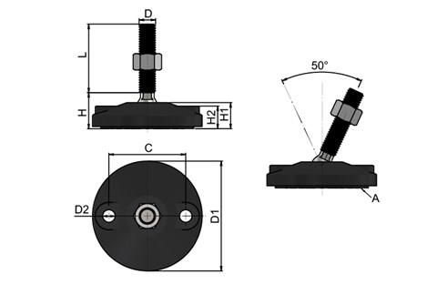 Leveling Feet - Double Bolt-Down Base - 304 Stainless Steel (WDS 778)