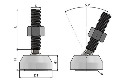 Levelling Feet - Steel Nickel Plated with 40mm White Plastic Base (WDS 778)