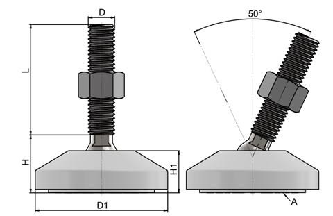 Levelling Feet - Steel Nickel Plated with 60mm White Plastic Base (WDS 778)