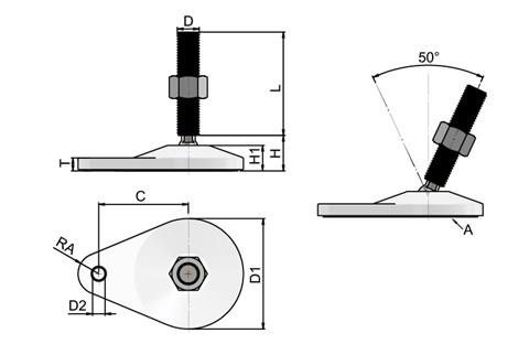 Levelling Feet - White Extended Bolt Down Base - 304 Stainless Steel (WDS 778)