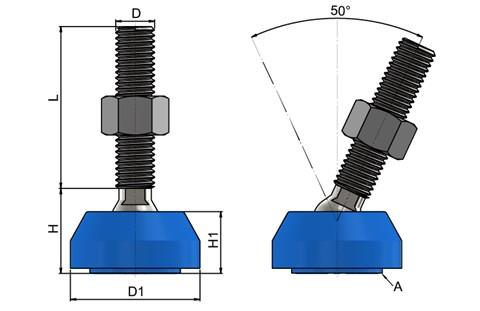 Levelling Feet - Steel Nickel Plated with 40mm Blue Plastic Base (WDS 778)
