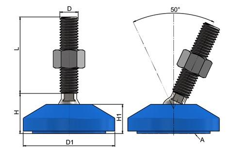 Levelling Feet - Steel Nickel Plated with 60mm Blue Plastic Base (WDS 778)