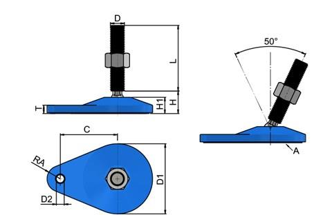 Levelling Feet - Blue Extended Bolt Down Base - Steel Nickel Plated (WDS 778)