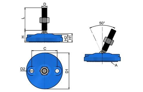 Levelling Feet - Blue Double Bolt Down Base - Steel Nickel Plated (WDS 778)