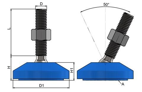 Levelling Foot - 304 Stainless Steel with 60mm Blue Plastic Base (WDS 778)