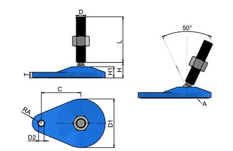 Levelling Feet - Blue Extended Bolt Down Base - 304 Stainless Steel (WDS 778)