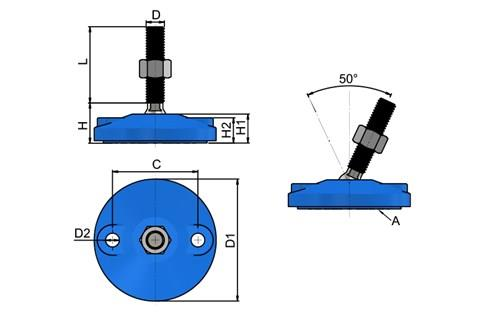 Levelling Feet - Blue Double Bolt Down Base - 304 Stainless Steel (WDS 778)