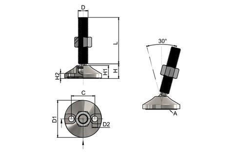 Levelling Feet - Mild Steel Double Bolt Down Base - Steel Nickel Plated (WDS 778)
