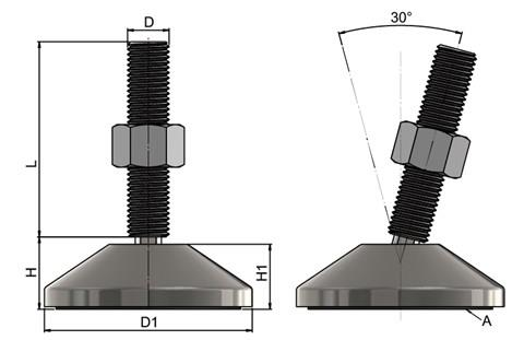 Levelling Feet - Steel Nickel Plated Mild Steel with 80mm Base (WDS 778)