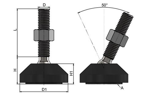 Leveling Feet - Steel Nickel Plated with 50 mm Plastic Base (WDS 778)