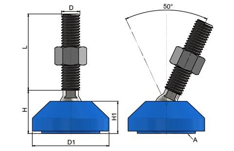 Levelling Feet - Steel Nickel Plated with 50mm Blue Plastic Base (WDS 778)