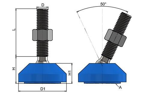 Levelling Foot - 304 Stainless Steel with Blue 50mm Plastic Base (WDS 778)