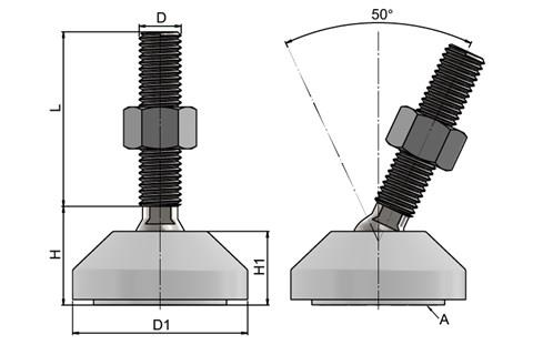 Levelling Feet - Steel Nickel Plated with 50mm White Plastic Base (WDS 778)
