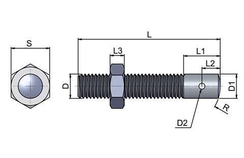 Adjustable Heel Pin - Stainless (WDS 809)