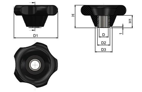 Hand Knob With Threaded Bush (WDS 8114)