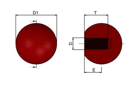 Ball Knob - Red Bakelite with Moulded Thread (WDS 8143)