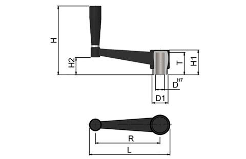 Crank Handle With Fixed Revolving Grip - GRP (WDS 8166)