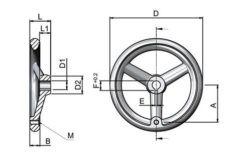 Aluminium Handwheel with Turned Rim - Keywayed Bore Tapped for Grip (WDS 8179)