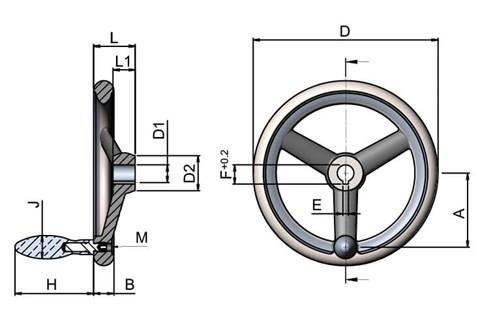 Aluminum Hand Wheel with Turned Rim - Keywayed Bore with Revolving Grip (WDS 8179)