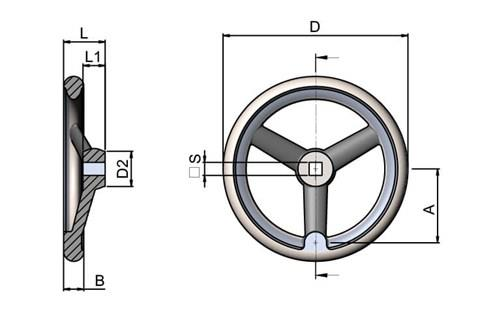 Aluminium Handwheel with Polished Rim - Square Hole (WDS 8179)