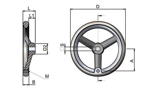 Aluminium Handwheel with Turned Rim - Square Hole & Tapped for Grip (WDS 8179)