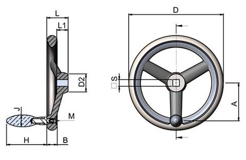 Aluminium Handwheel with Turned Rim - Square Hole & Revolving Grip (WDS 8179)