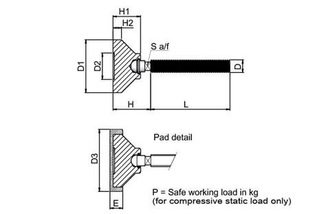 Levelling Foot - 316 Stainless Steel with PVC Pad (WDS 818)