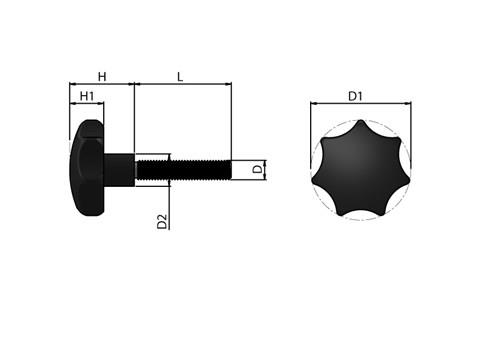 Cast Iron Lobed Hand Knob with Stainless Steel Screw (WDS 8185)