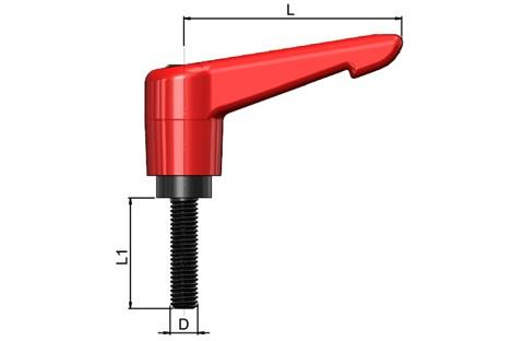 Clamping Handle Indexing with Steel Screw - Traffic Red (WDS 8189)