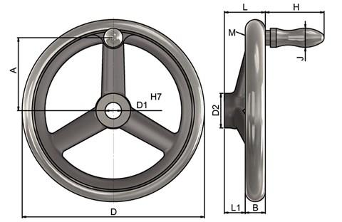 Cast Iron Hand Wheel - Bore Hole and Fixed Grip (WDS 8193)