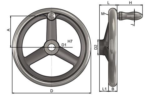 Cast Iron Hand Wheel - Bore Hole with Revolving Grip (WDS 8193)