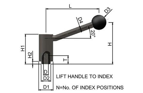 Clamping Lever - Indexing (WDS 8196)