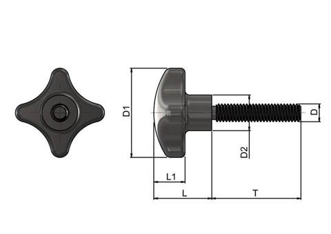 Threaded Hand Screw - Inch 316 Stainless Steel (WDS 8205)