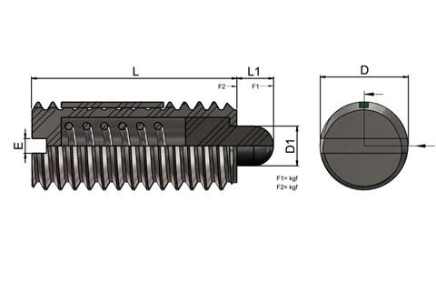 Light Force Stainless Steel Spring Plunger with Slotted Thrust Pin and Long-Lok (WDS 823)