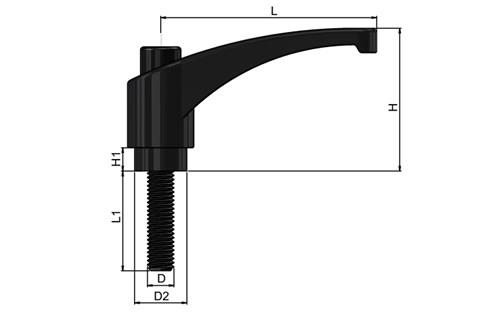 Clamping Lever - Plastic with Steel Screw - Black Knob (WDS 8238)