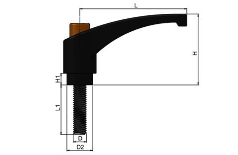 Clamping Lever - Thermoplastic with Steel Screw - Orange Knob (WDS 8238)