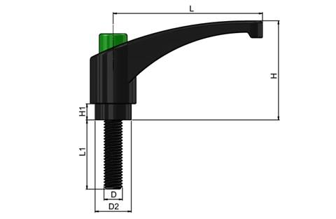 Clamping Lever - Thermoplastic with Steel Screw - Green Knob (WDS 8238)