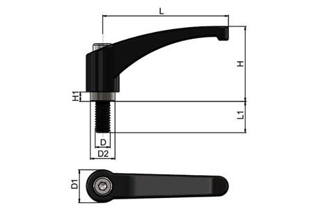 Zinc Die Cast Clamping Handle - Jet Black Male - Inch Thread (WDS 8242)