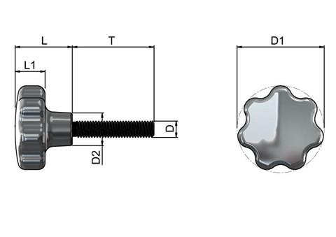 Lobed Hand Screw - Inch (UNC) 316 Stainless Steel Polished (WDS 8321)