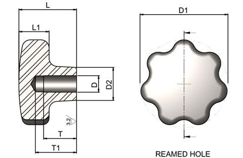 Hand Knob Reamed - 304 Stainless Steel (WDS 8321)
