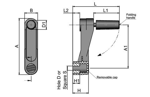 Crank Handle with Foldaway Revolving Grip - Square Hole (WDS 8425)