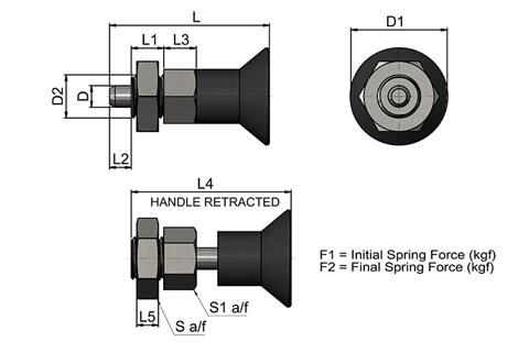 Stainless Compact Spring Loaded Index Bolt - Standard Type (WDS 844)