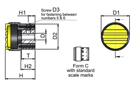 Graduated Knob with Standard Scale Marks - Cadmium Yellow (WDS 8450)