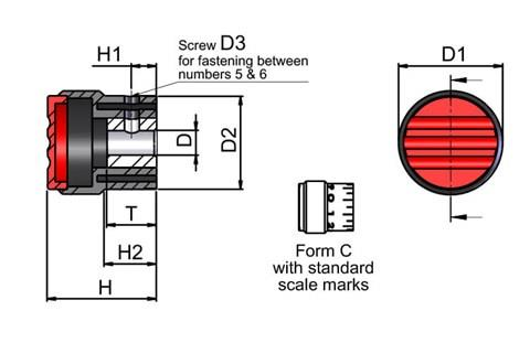 Graduated Knob with Standard Scale Marks - Traffic Red (WDS 8450)