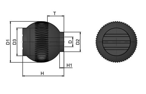Grip Ball - Black  Grey - Thermoplastic With 303 Stainless Steel Insert (WDS 8470)
