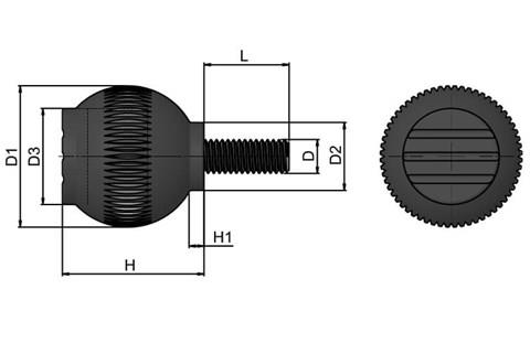 Grip Ball - Black Grey - Thermoplastic With Steel Screw (WDS 8470)