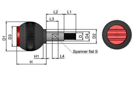 Grip Ball with Revolving Spindle - Traffic Red - Thermoplastic with 303 Stainless Steel Spindle (WDS 8470)